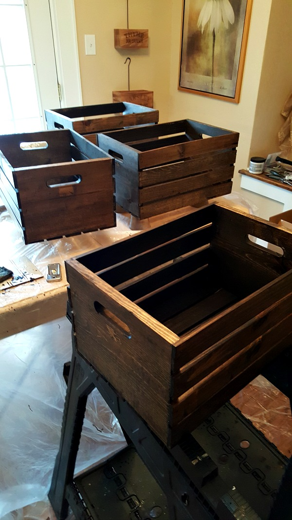 Stained wooden crates
