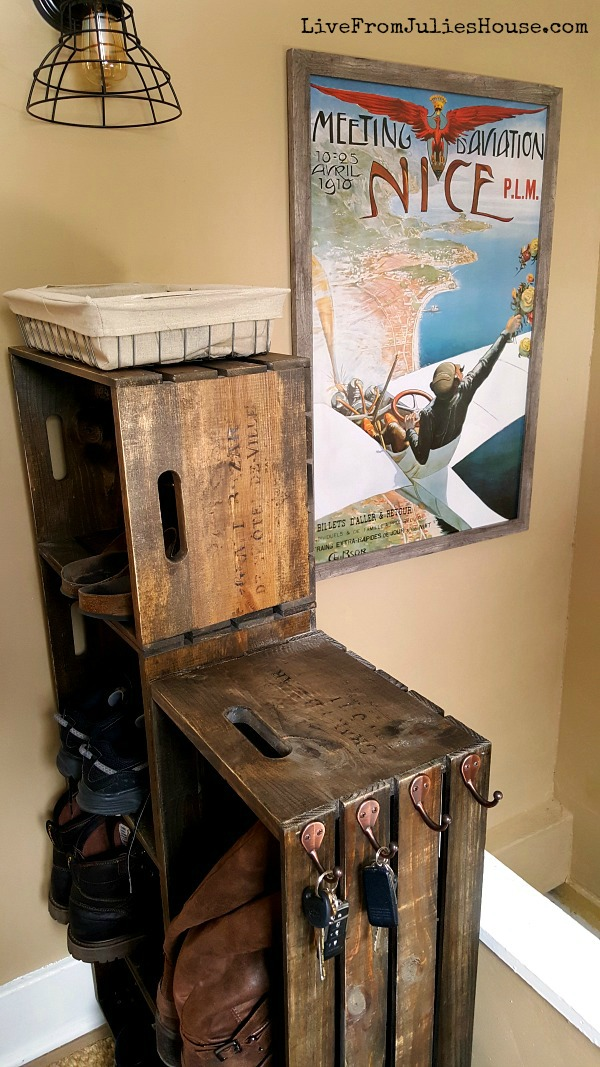 DIY Wooden Crate Shoe Rack - Tame the chaos in your mudroom with this easy to make DIY Wooden Crate shoe rack made from unfinished wooden crates.