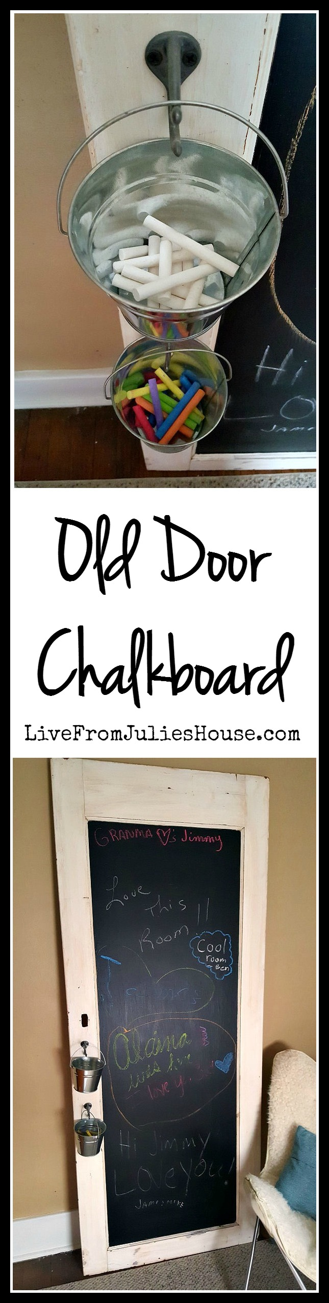 Old Door Chalkboard - My guest bedroom got a much needed makeover and it's full of creative, budget friendly DIY projects, like this old door chalkboard