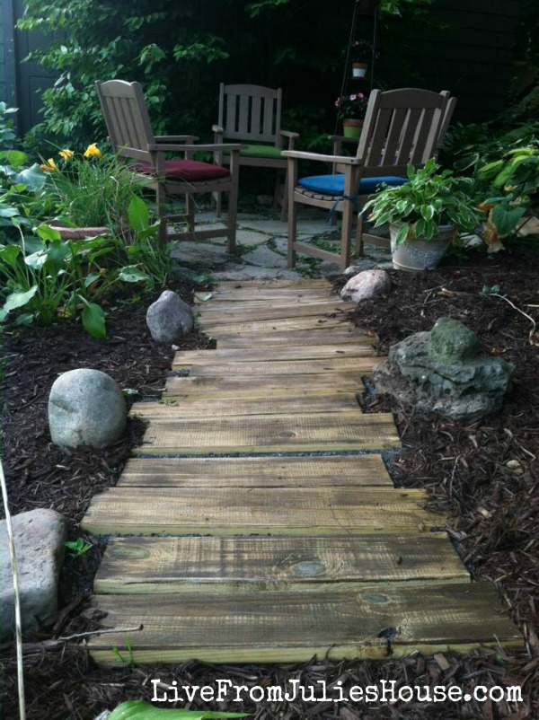 DIY wooden path
