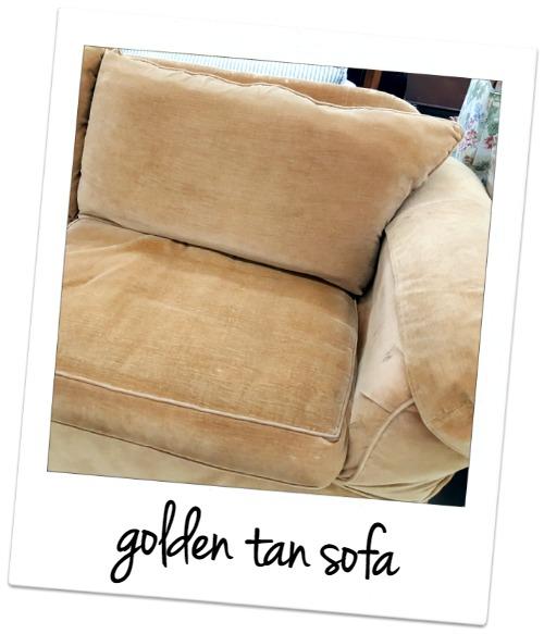golden tan sofa