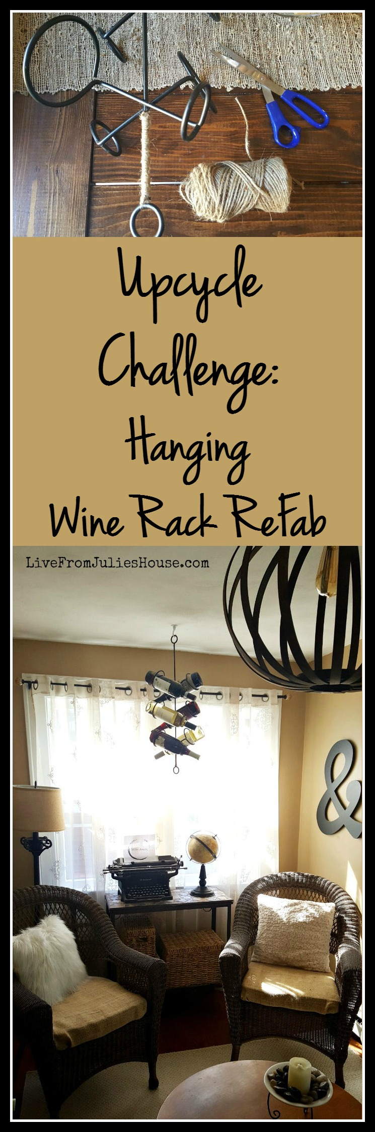 Thrift Store Decor Upcycle Challenge: Hanging Wine Rack ReFab - For this month's Upcycle Challenge, I spruced up a hanging wine rack that I picked up for just $3.99 at my favorite thrift store.