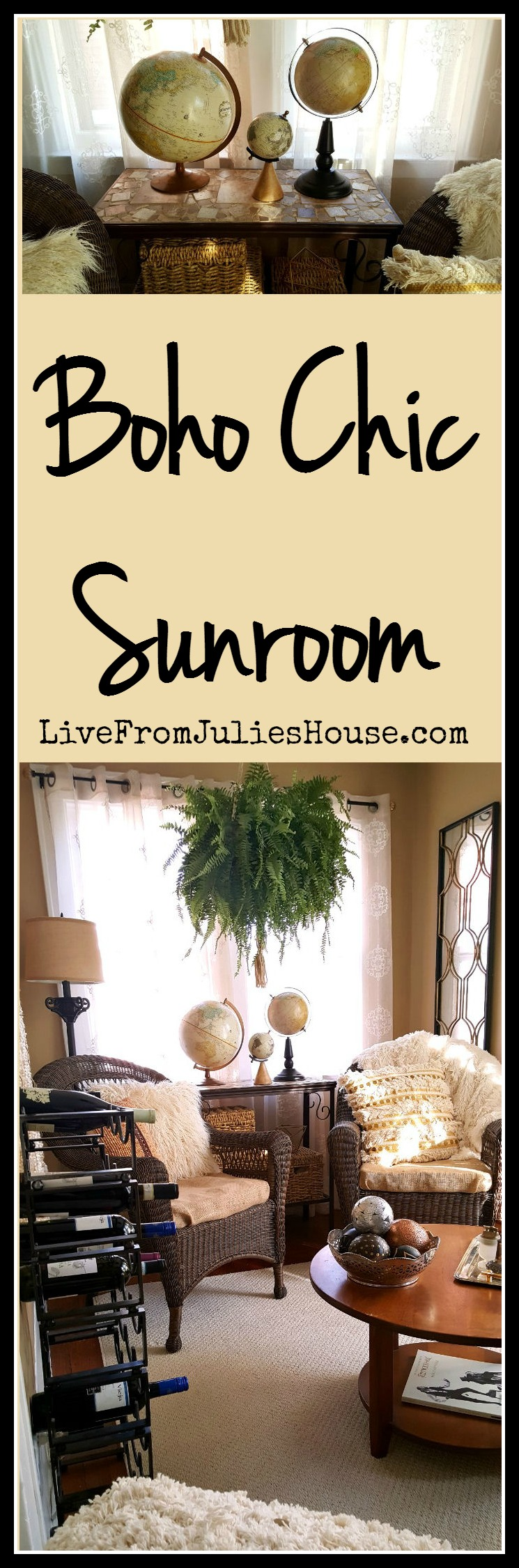 Boho chic sunroom - Find out how I transformed an awkward little room in my house into a boho chic sunroom with loads of personality and style - without breaking the bank.