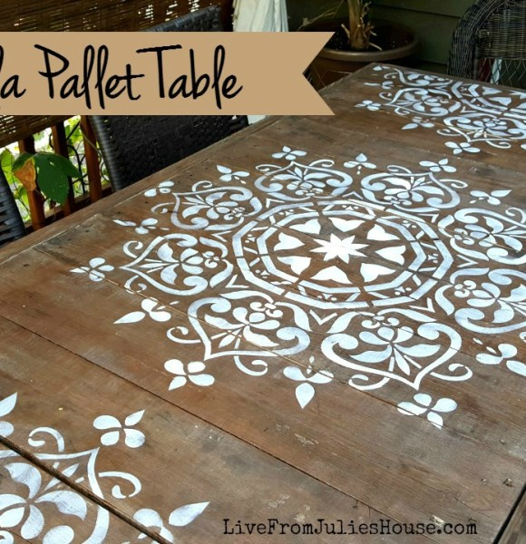 Mandala Stencil Pallet Table