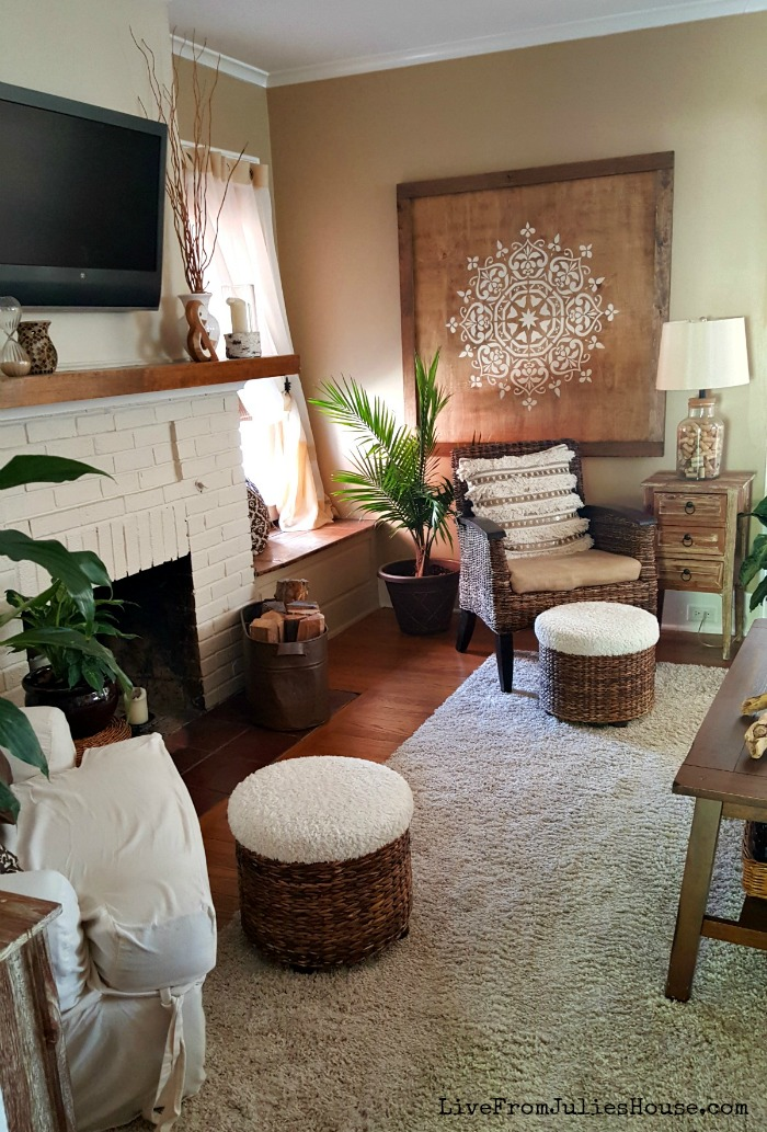 Monochromatic Boho Living room - Live from Julie\'s House