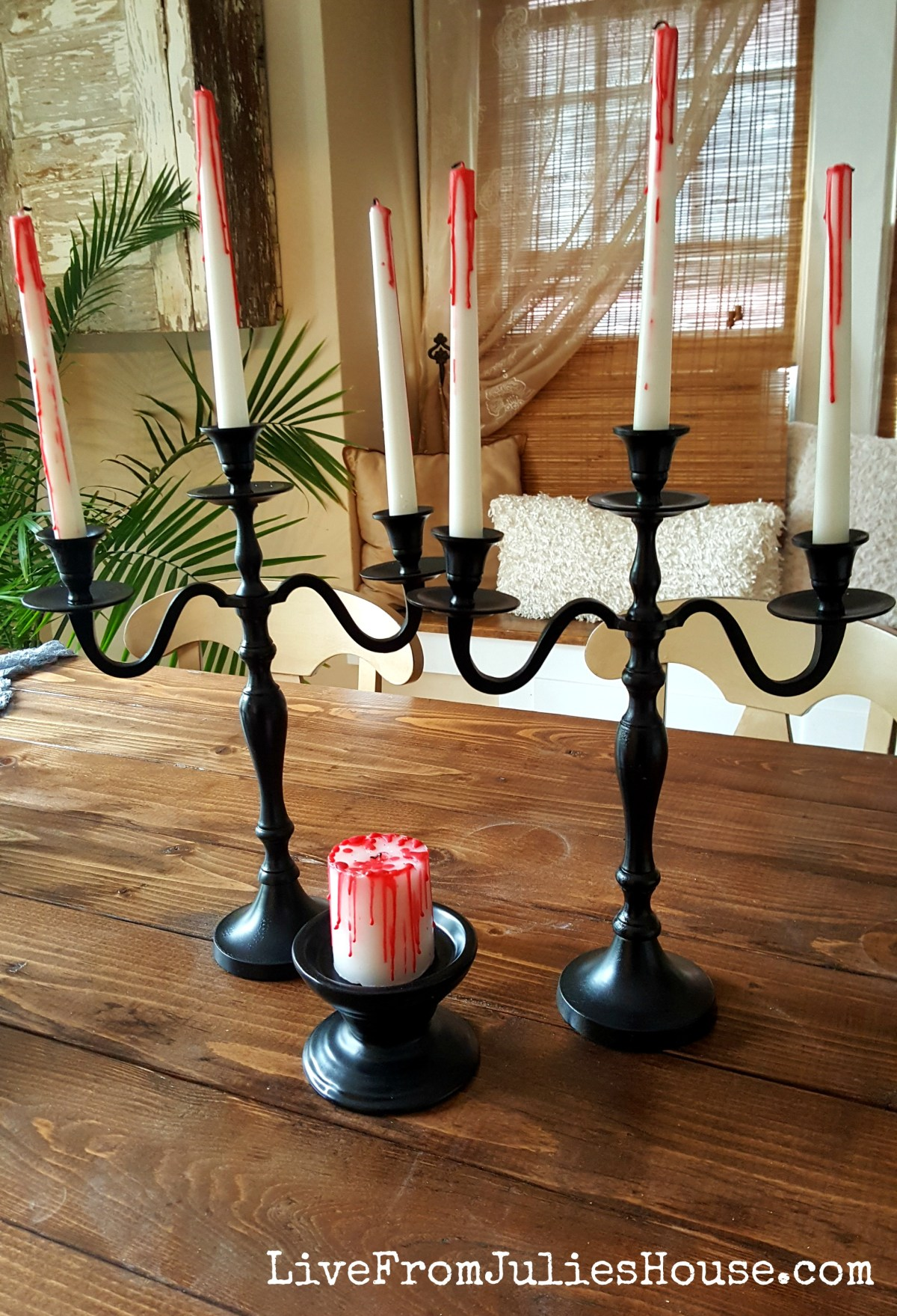 Halloween Decor on the Cheap: Bloody Candles - Want a Halloween decor project that gives you a lot of spooky bang for very little buck? Bloody candles come together in minutes.