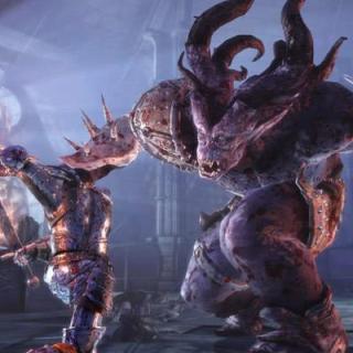 Dragon Age Origins сражение с рогатым монстром