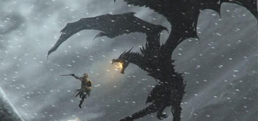 Бой с драконов в Скайрим