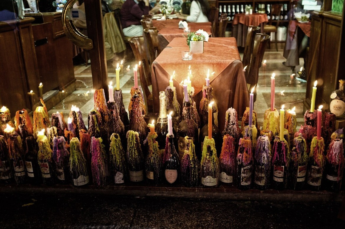 Romantic restaurant candles- entertainment is good being an au pair in Italy