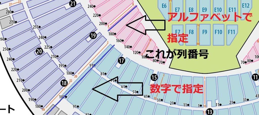 横浜スタジアム 列 指定方法