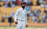 India's captain Virat Kohli reacts after a catch drop by teammate Ajinkya Rahane during the first day of their second test cricket match against Australia in Bangalore, India, Saturday, March 4, 2017. (AP Photo/Aijaz Rahi)