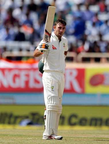 Australia's Glenn Maxwell raises his bat to celebrate scoring a century during the second day of their third test cricket match against India in Ranchi, India, Friday, March 17, 2017. (AP Photo/Aijaz Rahi)