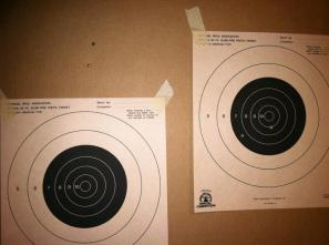 We each got 4 shots...Mine is on the left...Notice no bullet holes anywhere.