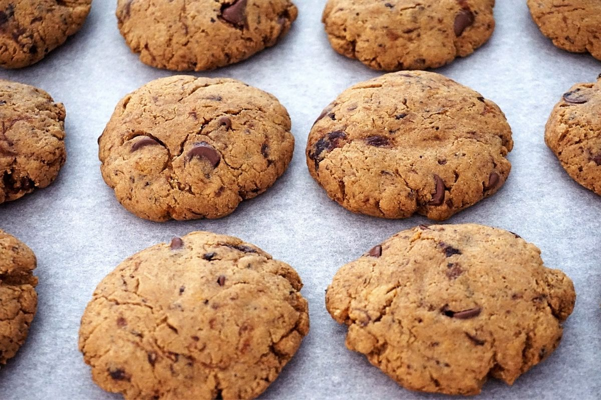 dried plum chocolate chip cookies on sheet