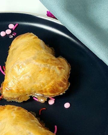 heart puffs on plate