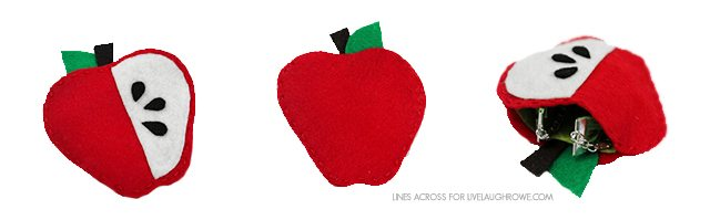 Cute fruit shaped gift pouches made from felt. Great for gifting cash, small jewelry or trinkets. livelaughrowe.com