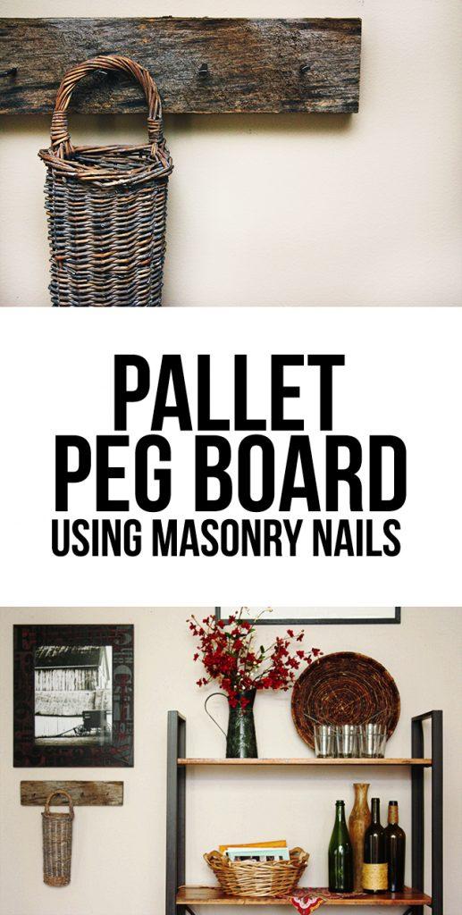 DIY Pallet Peg Board made using masonry nails. LOVE IT! livelaughrowe.com