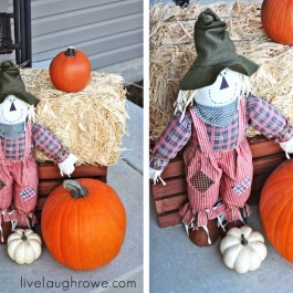 Festive Fall Porch with stained crate makeover.