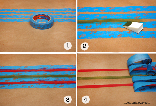 DIY Wrapping Paper using ScotchBlue painters tape with livelaughrowe.com