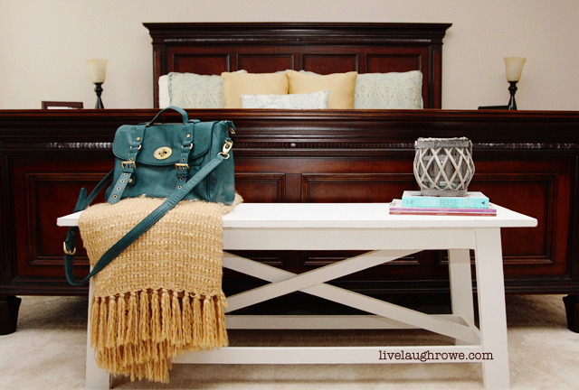 White Rustic Bench | livelaughrowe.com