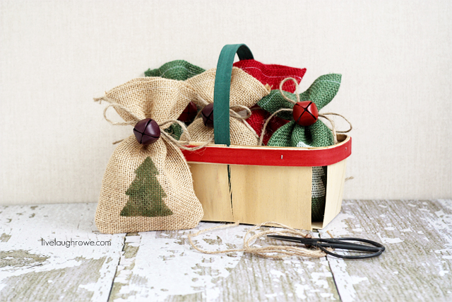 DIY Burlap Gift Bags with livelaughrowe.com