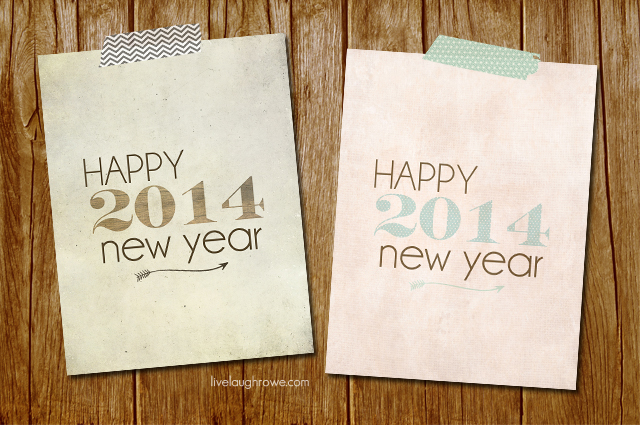 Vintage and Shabby Chic 2014 Happy New Year Printables with livelaughrowe.com