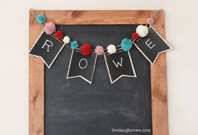 Super fun and easy DIY Chalkboard Pennant Banner with livelaughrowe.com