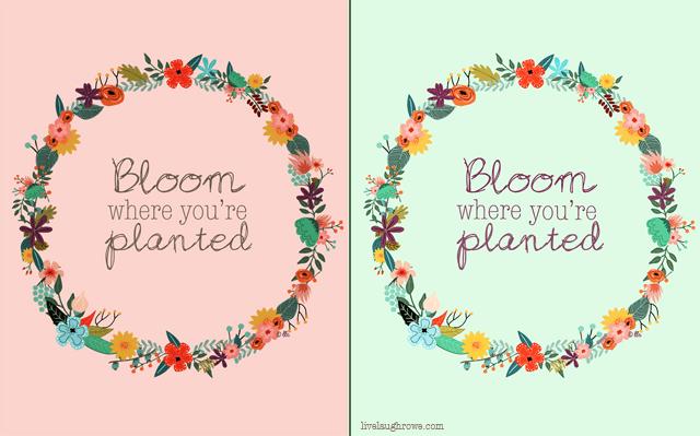 Bloom Where You Are Planted Printables with livelaughrowe.com