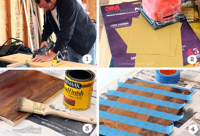 Steps 1-4 of DIY Photo Clip Board
