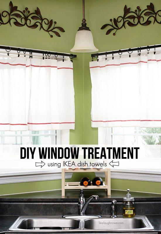 DIY Window Treatment using IKEA dish towels. More at livelaughrowe.com #diy