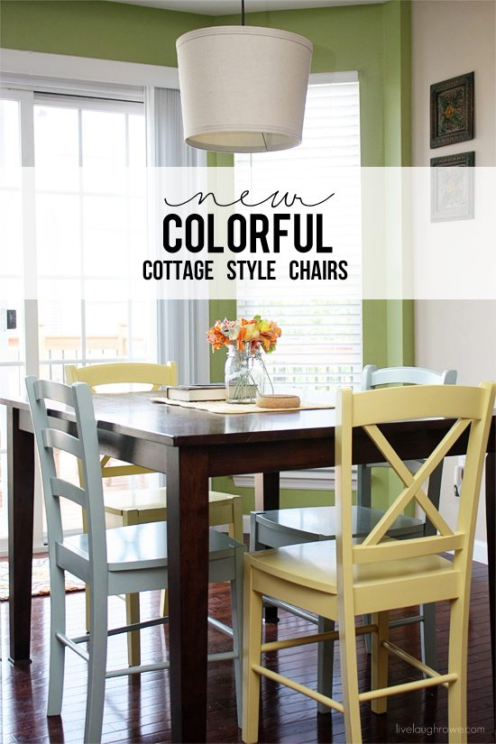 cottage style chairs dining bench and new colorful live laugh rowe love how these brighten up our breakfast room