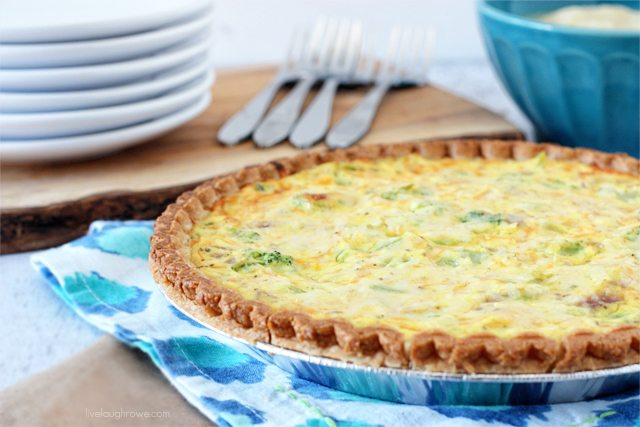 Skinny Broccoli and Cheddar Quiche.  A cheesy and savory dish.  Recipe at livelaughrowe.com #quiche #weightwatchers
