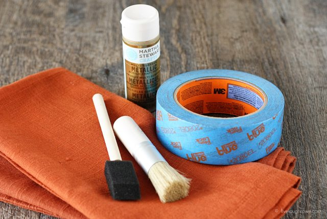 Supplies for Stenciled Napkins with ScotchBlue Painter's Tape