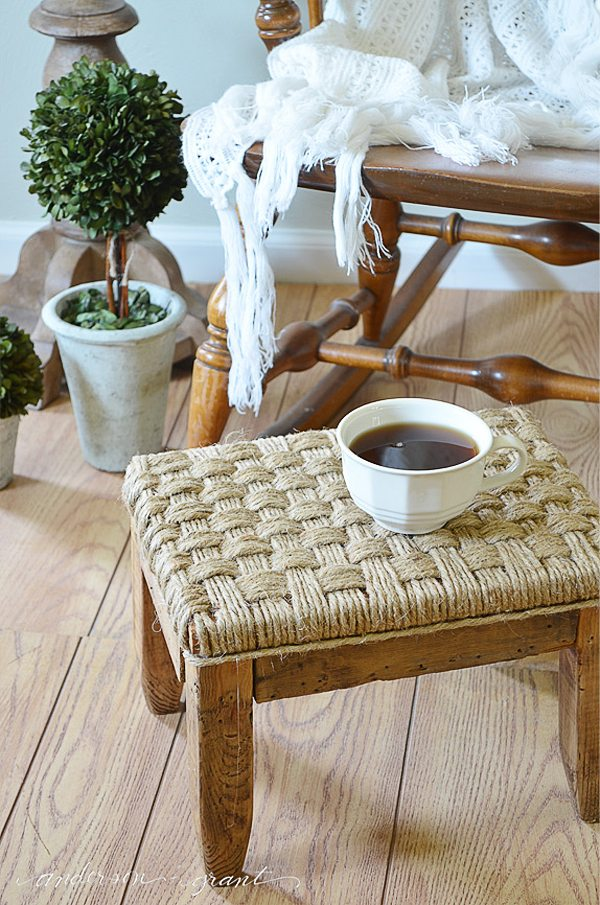how to make a rustic DIY footstool