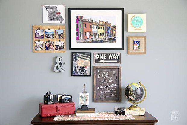 Photo Wall Art Travel Themed Gallery Wall with Photographs Typography Artwork Souvenirs