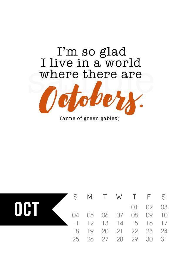 Free 5x7 October 2015 Calendar Printable with inspirational quote! www.livelaughrowe.com