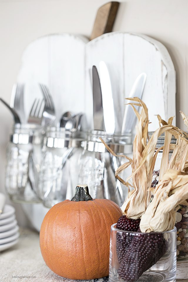 Rustic Pumpkin with Mason Jars -- a perfect addition to your seasonal decor and entertaining! livelaughrowe.com