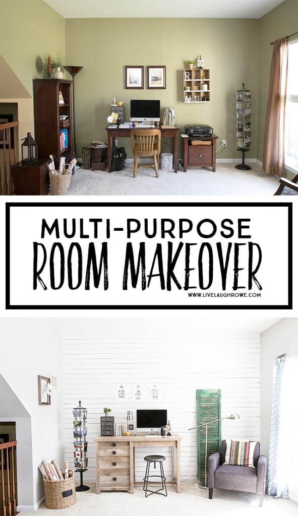 The Multi-Purpose Room Makeover is FINALLY revealed. The plank wall and furniture choices are a perfect pairing. livelaughrowe.com