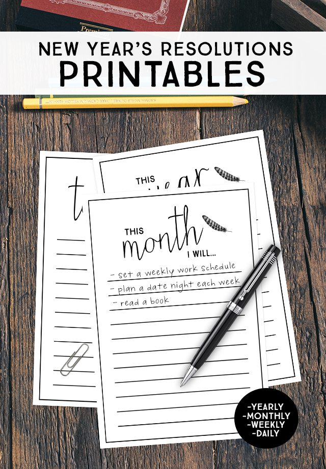 New Year's Resolutions Printables. Whether you like to set goals yearly, monthly, weekly or daily -- these printables have you covered! livelaughrowe.com