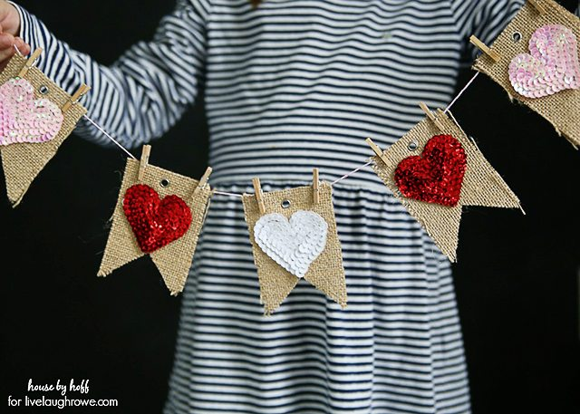 Adorable and Easy Valentine Bunting Banner. You can't go wrong with a little burlap, right?