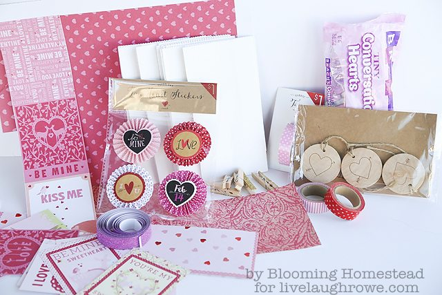 Supplies for Valentine Treat Bags