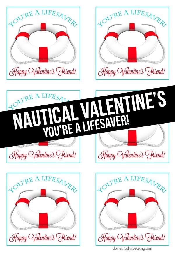 You're a Lifesaver Valentine Printables