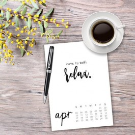 This April 2016 Calendar is a perfect reminder to yourself -- to relax! Be sure to snag your free printable calendar. livelaughrowe.com