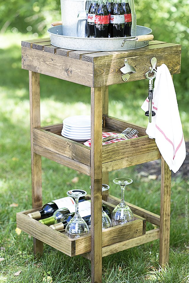 DIY Drink Station for your summer entertaining! I love that the shelves can be removed and used as trays too! Full tutorial (with pictures) at livelaughrowe.com