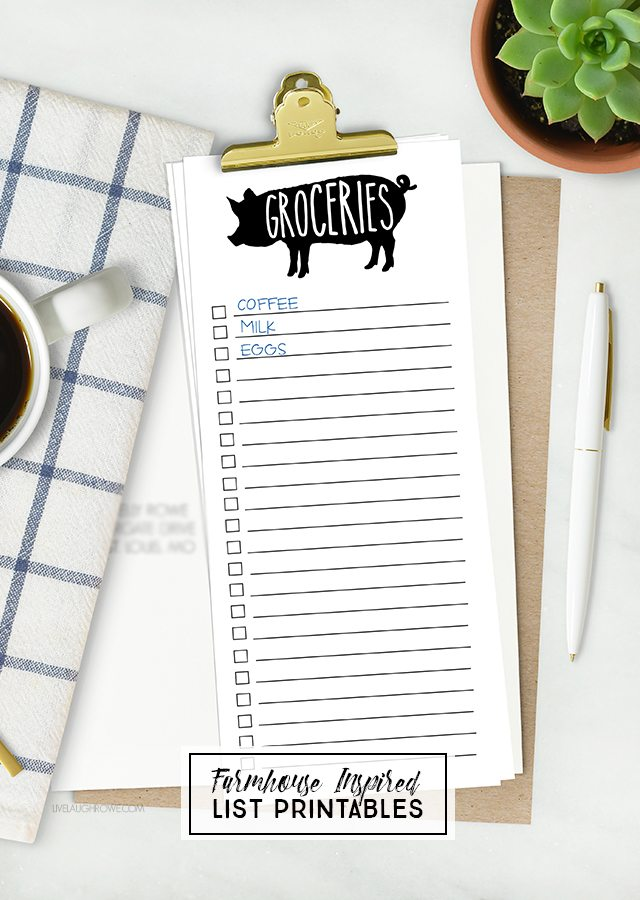 Sometimes lists are my only saving grace! This farmhouse grocery list isn't only cute, but it's a lifesaver too. There's a printable to do list too. Grab yours at livelaughrowe.com