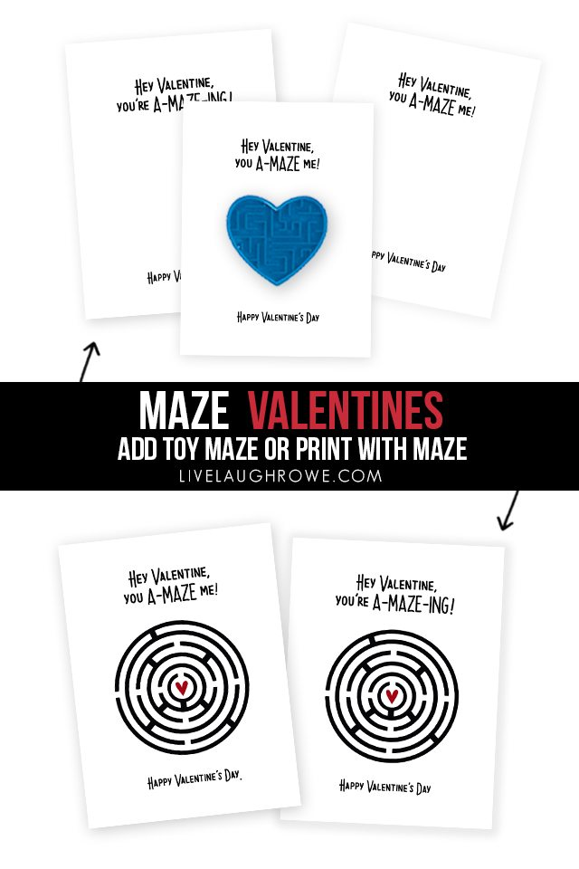 Fun Maze Printable Valentines TWO WAYS -- add toy maze or print valentine with maze! livelaughrowe.com