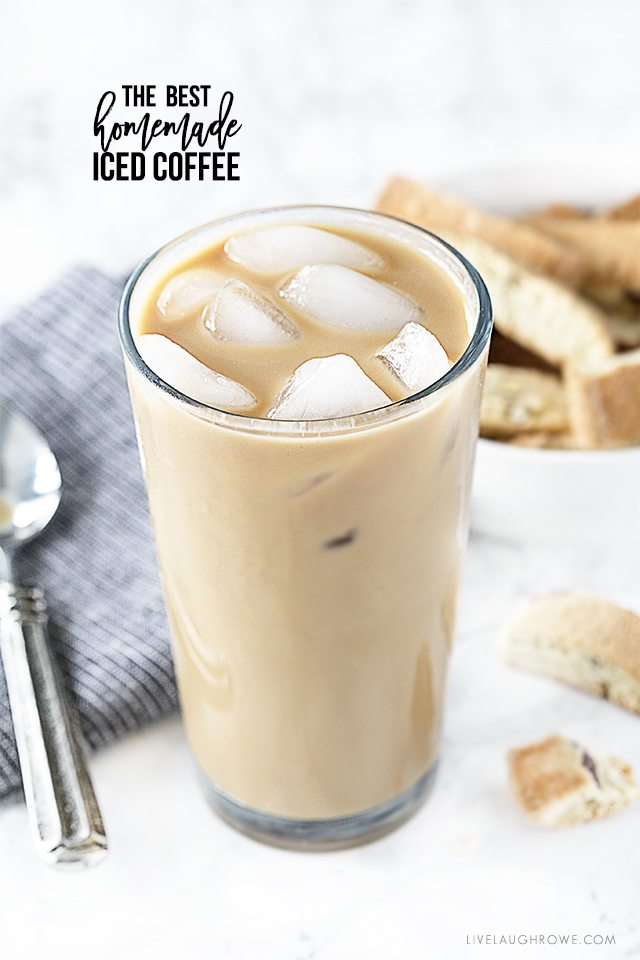 Homemade iced coffee that is perfectly flavored with light cream and light sugar. Grab the recipe at livelaughrowe.com
