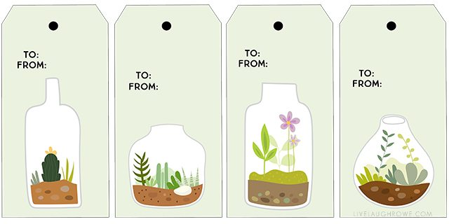 Absolutely darling (and free) printable terrarium gift tags. If you love succulents, these are perfections. livelaughrowe.com