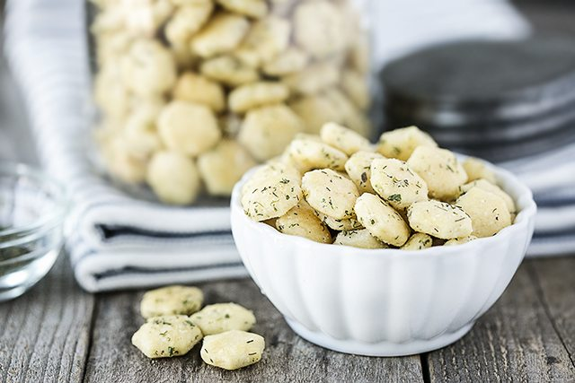 Game Day Recipes. Dilly Oyster Crackers in a bowl for snacking