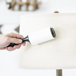 Great tip!! Use a lint roller to remove dust on your fabric lampshades. livelaughrowe.com